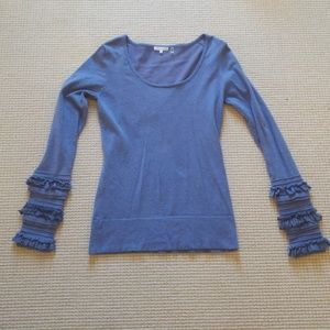 Minnie Rose blue scoop neck sweater ruffle sleeves